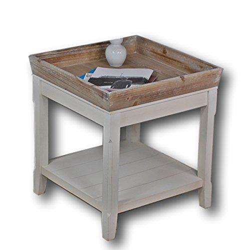 elbmöbel Couchtisch weiß und das Holz-Tablett in braun, buche, 50 x 50 x 55 cm - In Antik-braun-tisch-lampe