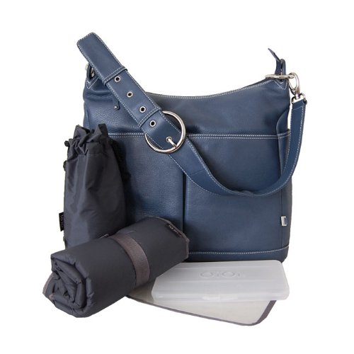 Wickeltasche OiOi Hobo Leder Wickeltasche in Denim Blau (Hobo Denim)