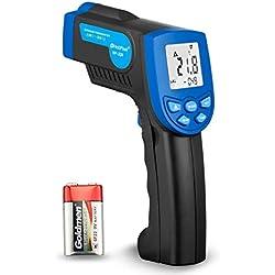 HOLDPEAK 320 Thermomètres à infrarouges,Sans Contact Laser Thermomètre Digital Portable(-30℃ to 320℃) avec LCD Rétro-Éclairage,Ensemble d'alarme Convient pour Barbecue, Cuisine à Domicile