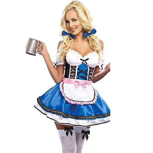 ZLY Halloween-Kostüm, Rollenspiele, Dienstmädchenuniform, Baroveralls, Damenbekleidung, einschließlich Rock + Schürze + Handschutz + Kopfbedeckung,One Size -