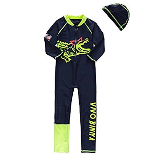 FAIRYRAIN Baby Kleinkind Jungen Badeanzug Einteiler UPF50+ Schnelltrocknend Tauchanzug Wetsuit Lang + Bademütze Set