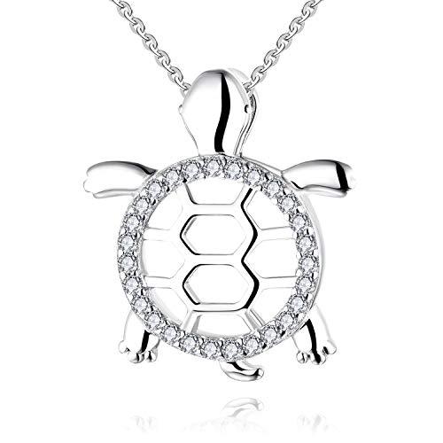 JO WISDOM Damen Halskette Schildkröte Silber 925 Kette mit Anhänger mit AAA Zirkonia