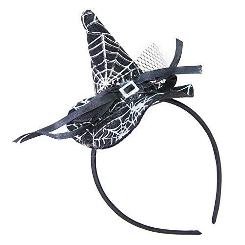 Lovinda Kopfschmuck Halloween 22 * 11cm Hexenhut Spinnennetz Magischer Hut für Cosplay - Spinnennetz Halloween Kostüm