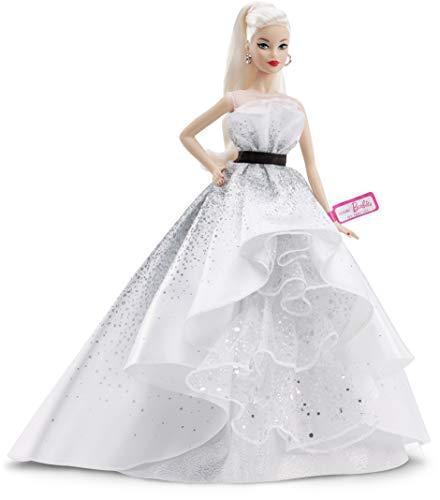 Barbie FXD88 - Barbie Sammlerpuppe zum 60. Jubiläum, ca. 30 cm groß, blond, mit einem Kleid und einem Armband, die einem Diamanten nachempfunden sind
