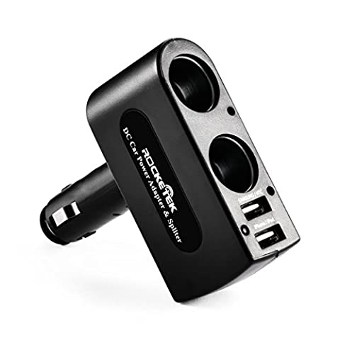 [Safe Upgrade] Rocketek® 3.1A / 15.5W Dual USB adapteur allume-cigare avec 2 Prise allume-cigare DC Outlet Car Splitter - Build-10A Fusible Adaptateur Socket voiture
