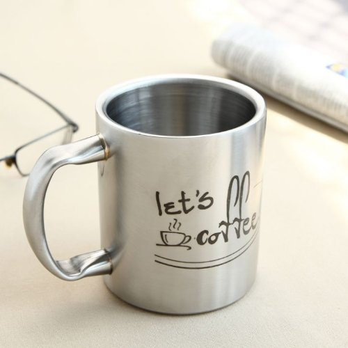 HotMuggs Let's Coffee Stainless Steel Double Walled Mug, 350ml, Silver  available at amazon for Rs.340
