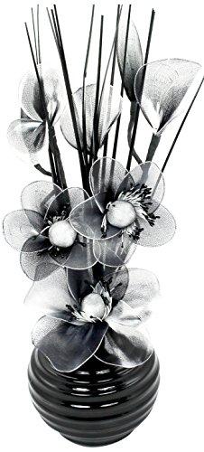 Flourish - Vaso con fiori di nylon piccoli, 32 cm, colore: nero/bianco