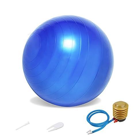 Ideapro d'exercice Gym Yoga Boule 65cm et pied Gonfleur de pompe à air pour la maison, équilibre, gym, Core Force, yoga, fitness, chaises de bureau–antidérapant anti éclatement Balle de fitness