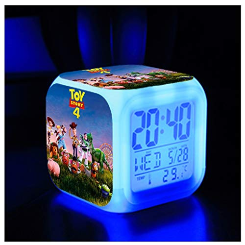 ZhangXF Toy Story 4 Wecker, Super Stilvolle 3D Stereo LED Nachtlicht Elektronische Wecker Nacht Schlafzimmer Geburtstagsgeschenk (Sieben Farben),06 (Toy Paare Story)