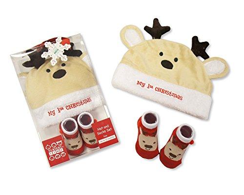 Rentier Baby 's First Christmas Hat und Socken Set 0/12Monate Geschenkbox (Fancy Dress Kostüm Dusche)