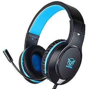 Gaming Headset für PS4, PC Gaming-Headset Surround Sound Kabelgebundenes Headset mit Mikrofon,  Kopfhörer Gaming Kompatibel für PS4, Xbox One, PC, Laptop, Tablet(Schwarz&Blau)