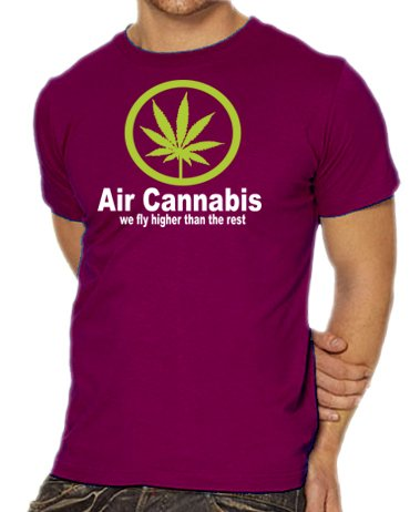 touchlines-t-shirt-manches-avec-inscription-air-cannabis-we-fly-higher-than-the-rest-rouge-l