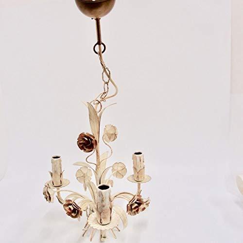 Hängelampe Florentiner 60er Eisen cremeweiß gold Kronleuchter Lüster Leuchte alt -