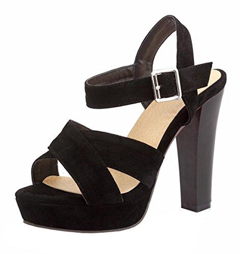 YE Damen Offene Blockabsatz High Heels Plateau Sandalen mit Riemcen und Schnalle Wildleder Pumps Schuhe Schwarz