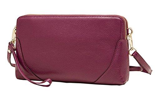 SAIERLONG Nuovo Donna Rose Red Vera Pelle sacchetto di frizioni Borse Borse a tracolla trasversale del corpo Wristlets Viola