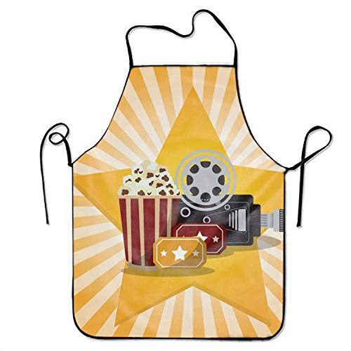 Jieaiuoo Now Designs Basic Dacron Kitchen Chef's Apron,Camera Star Print -