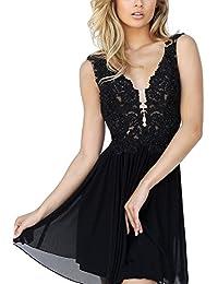 BetterGirl Damen Chiffon Abendkleider Elegant Kurz Spitze Ballkleid V-Ausschnitt  Partykleider Cocktailkleid 18c0daa8bc