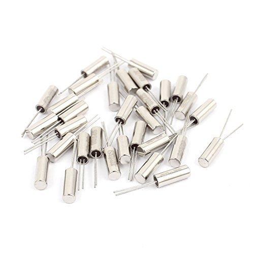 DealMux 30 pc 3 mm x 8 mm 32.768 K Hz cylindrique de cristal de quartz Oscillateur du ton d'argent