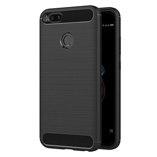 iVoler Funda para Xiaomi Mi A1, Diseño de Fibra de Carbon Ultra Fina TPU Silicona Carcasa Fundas Protectora con Shock- Absorción - Negro