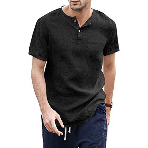 BHYDRY Kühle dünne atmungsaktive Normallack-Knopf-Baumwollhemd-Kurzarm der Sommer-Männer (X-Large,Schwarz) - Vordere Weste Stricken