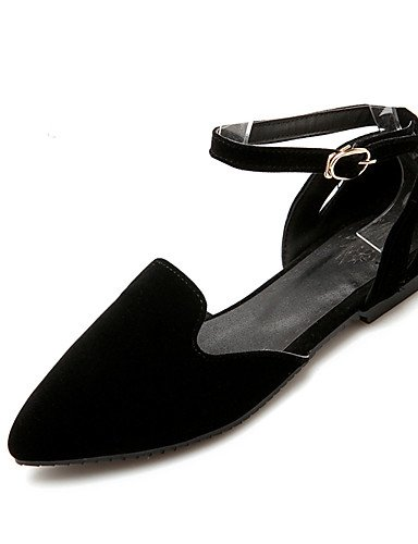 XAH@ Chaussures Femme-Bureau & Travail / Habillé / Décontracté-Noir / Bleu / Rouge-Talon Bas-Bout Arrondi / Bout Fermé-Plates-Laine synthétique black-us8.5 / eu39 / uk6.5 / cn40