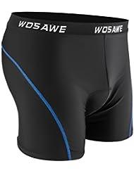 Sous-vêtements de Cyclisme, Rixow Culotte Cuissard 3D Gel Rembourré Shorts à Vélo/VTT Hommes/Femmes/Jeunes Confortable Protection, Taille Universelle XL, Noir