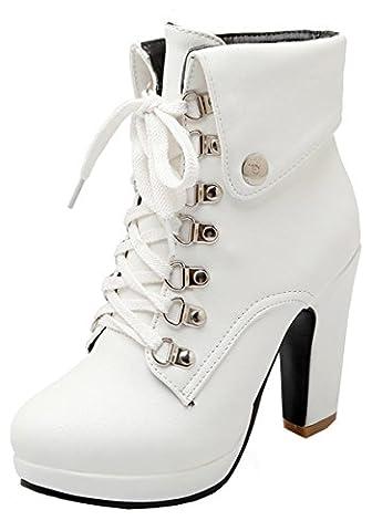 YE Damen Blockabsatz Plateau High Heel Stiefeletten mit Schnürung und