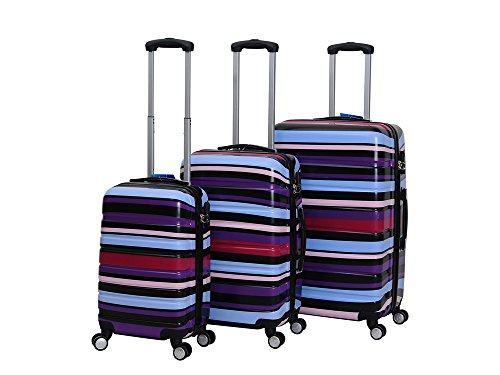 HOT CASE Reisekoffer Trolley Hartschalen Polycarbonat mit Zahlenschloss und 4-Zwillingsrollen 20' 24' 28' 3er Set (Streife lila, 28'/L)