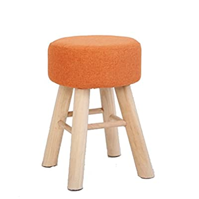 UUSSHOP Wooden Padded High Chair Breakfast Kitchen Bar Makeup Stool Seat with 4 Pine Legs and Removable Linen Cover ( Orange) - cheap UK light store.