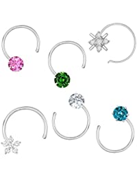 ValaGo 92.5 Sterling Silver Multi color Nose Pin Stud Set For Women & Girls