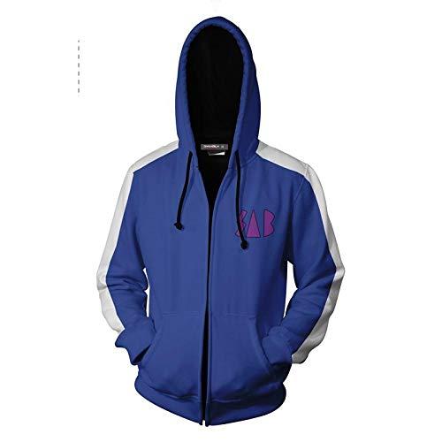 HXFAFA Kapuzenpullover-Final Fantasy Man Hoodies Zip Sweatshirts Pullover Freizeit Blau 3D Druck Paar Mantel Unisex 3XL Fantasy-zip Hoodie
