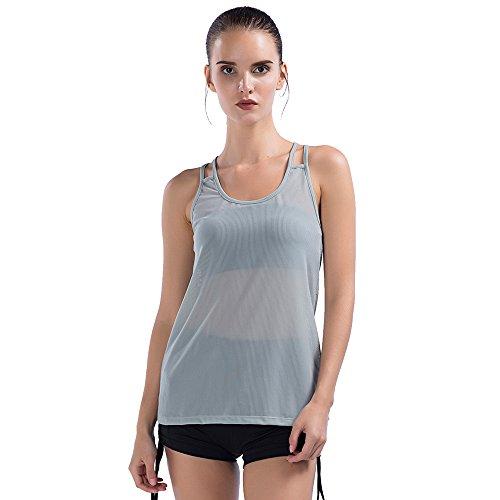 Sunny&Baby Canottiere da donna traspirante Athletic Vest Workout Running Gym Anti-rughe Jersey per le signore Confortevole ( Color : White , Size : M ) Light Gray