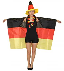 Foxxeo 35006 | Deutschland Poncho Fan Party Flagge