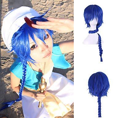 Billige Kostüm Anime Cosplay - FUHOAHDD Kostüm Perücke japanischen Anime Harajuku Stil extra Lange Länge Blaue Farbe billig synthetischen Cosplay Frisur, Blue