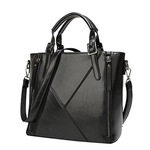 YiLianDa Frauen PU Leder Handtaschen Vintage Tote Satchel Schultertasche Schwarz