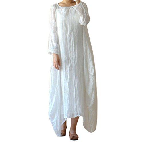 MCYs Damen Rundhals Lose Große Größe Leinen Beiläufige Unregelmäßig Baggy Boho Lange Boho Maxi Kleid (5XL, Weiß) (Leinen Trim Lace)