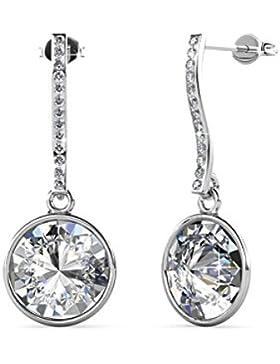 Große Silberne Runde Ohrringe Hängende ohrstecker kreis Set Basic 925 Silber mit Kristallen von echt Swarovski...