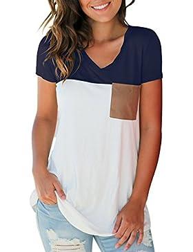 Camiseta Mujer Manga Corta Verano Básico Cuello en V Bloque de Color Casual Camiseta de Manga Corta T-Shirt con...