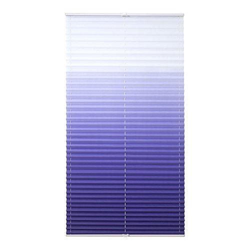 Liedeco® Klemmfix Plissee Farbverlauf verspannt inkl. Klemmträger /Breite x Höhe: 75 x 130 cm / Farbe: Blau / Plissee farbig zum Klemmen fürs Fenster / Sonnenschutz und Fensterdekoration innen / lichtdurchlässig und verstellbar / Innen-Montage ohne Bohren / 123 montiert / Falt-Plissee / Plissee-Rollo Sichtschutz Blendschutz - 6
