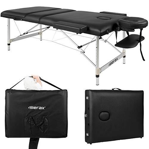 Massageliege mobil klappbar, 3 Zonen Deluxe Therapie Tatoo Salon Reiki Massagetisch Massagebank Tragbar Höhenverstellbar Massage Bett mit Aluminiumfüße inkl. Tragetasche (bis 250kg belastbar) Schwarz -