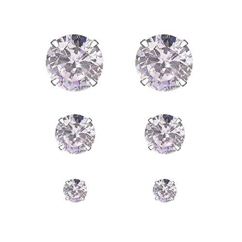 Yourdora 3 paia semplice orecchini a perno in argento 925 con cristalli da swarovski donna gioielli set 3mm 5mm 7mm (pietra di luna)