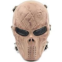 LiveBox Teschio Militare Airsoft Paintball Protezione Full Face Mask con rete metallica protezione degli occhi, Dry Yellow - Airsoft Ragazzi Gun