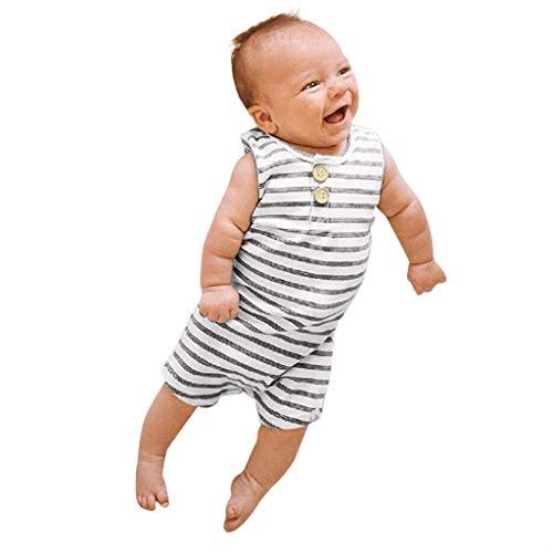 Baby Jungen Mädchen Mode Einfache Gestreifte Kleidung Ärmellose Strampler Overall Outfit 0-24 Monate ()