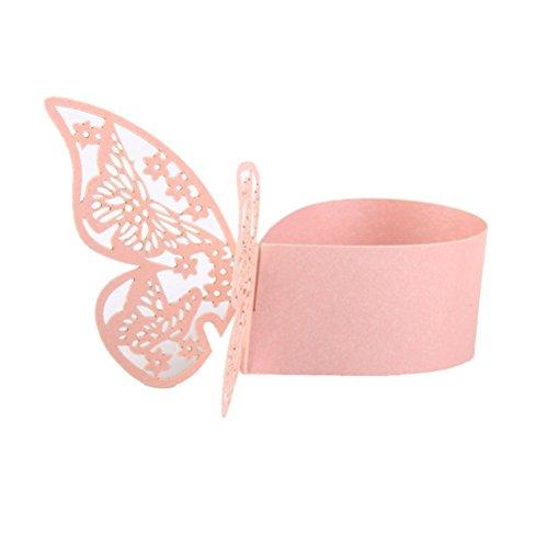 ROSENICE 50pcs Serviette Anneau Porte Papillon Design Fête Mariage Décoration (Rose)