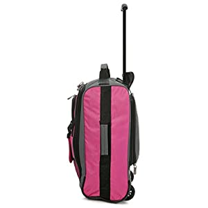 MiniMAX Childrens/Kids Luggage Carry On Trolley Suitcase with Backpack and Pouch for your Favourite Doll/Action Figure/Bear (Pink/Teddy)