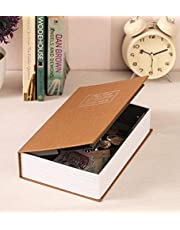 Cartshopper Metal Book Piggy Bank English Dictionary Storage Box with Lock Safe (Multicolour, 18 X 11.5 X 5.5 cm/180 x 110 x 55 mm)