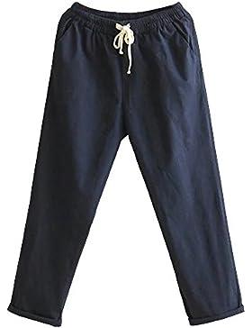 ShiFan Casual Tinta Unita Pantaloni Da Donna Vita Alta In Cotone Di Lino Elasticizzato Pants Casuale