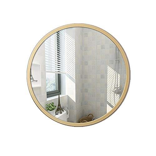 CXX Moderner Holzrahmen-runder Wand-Badspiegel, Hängen im Badezimmer, Schminktisch, Schlafzimmer | Goldfarbe , 4 Größen erhältlich (Size : 50x50cm)