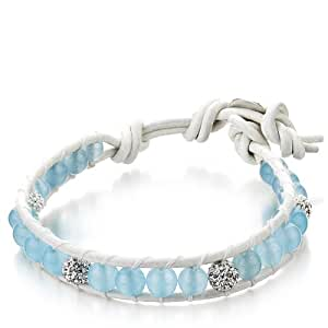 Shimla White Leather Bracelet with Aquamarine Balls and Clear Czech Crystals