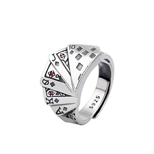 ORKST 925 Sterling Silber Poker Öffnung Einstellbar Männer und Frauen Ring Schmuck Zubehör (Männliche Sterling Silber Ringe)